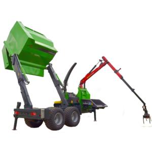 Holzhäcksler mit Palfinger Kran und Überlader Container